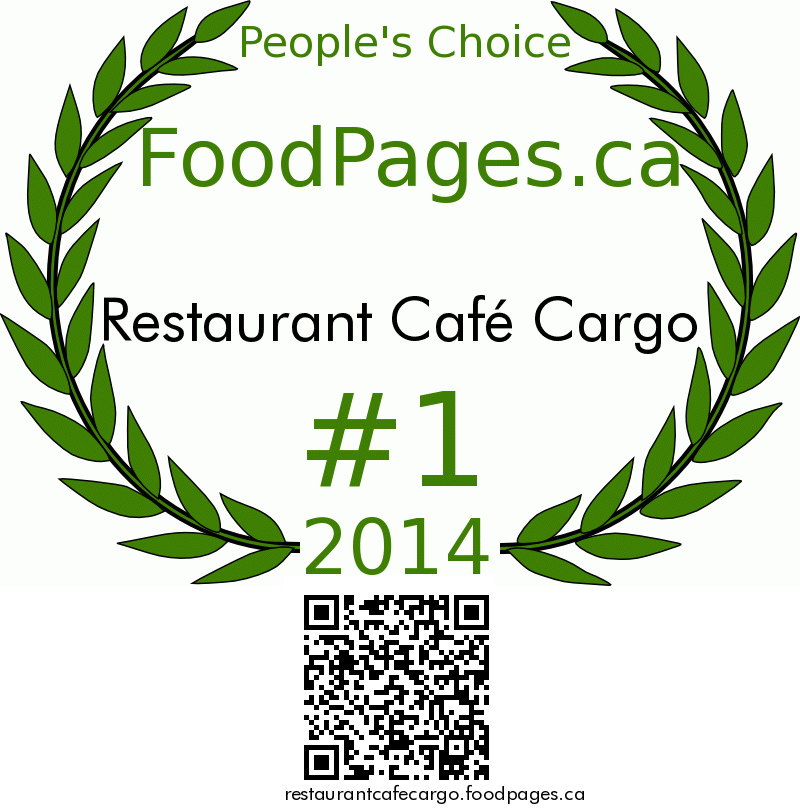 Restaurant Café Cargo FoodPages.ca 2014 Award Winner